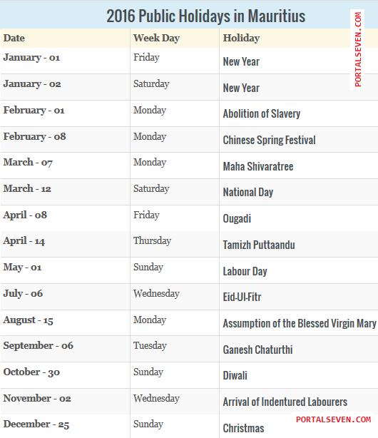 2016 Mauritius Public Holidays 2016 Mauritius Calendar