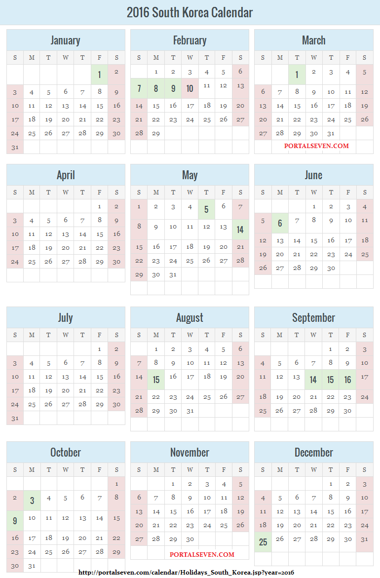 2016 South Korea Public Holidays & Calendar
