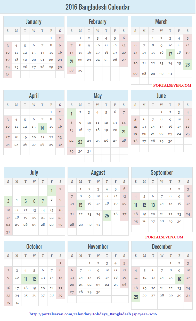 Calendar For Year 2016 United States Time And Date ...