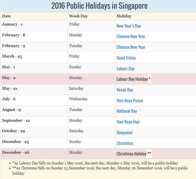 2016 Singapore Holidays & Calendar